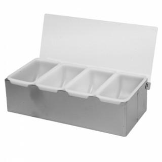 Műanyag gyümölcsrendszerező - 4 tartállyal - alumínium/fehér