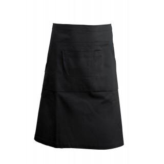 Báros/Pincér kötény - 3 zsebes - Fekete - 90x62 cm - Soft