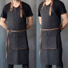 Dress JL Jean Full Length Apron with Brown Leather Details - 60x92 cm