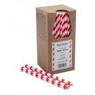 Papír szívószál - Piros és fehér csíkos - 250 db.