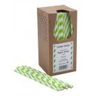 Papír szívószál - Zöld és fehér csíkos - 250 db.