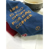 LIFE IS TOO SHORT FOR BAD COFFEE zoknik - 37-41 - BLUE