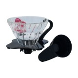 Hario V60 Glass Drip 01 - Black, with scoop